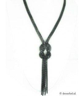 Mooie zwartkleurige schakelhalsketting met armband