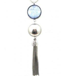 Zilverkleurige koordhalsketting met blauwe hanger en strengen