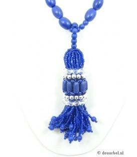 Blauwe kralen halsketting met kralen hanger