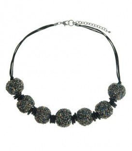 Zwart gekleurde korte halsketting met 7 ballen