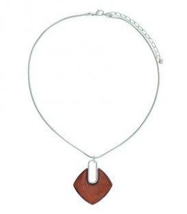 A-Zone korte halsketting met ruitvormige rode hanger