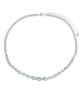 Zilverkleurige korte halsketting met heldere steentjes