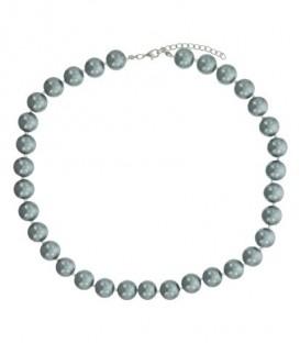 Korte halsketting van zilvergrijze kunstpareltjes