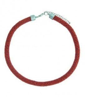 Rode korte kralen halsketting