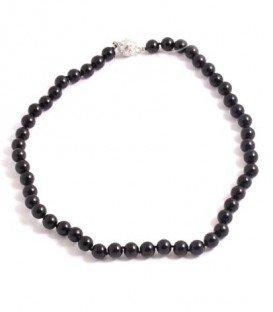 Zwarte parel korte halsketting met magneet sluiting