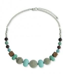 Mint groene korte metalen halsketting en kralen