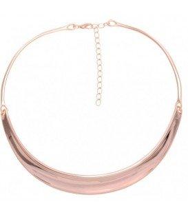 Korte metalen choker halsketting in rose goud kleur