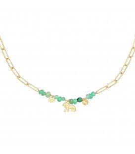 Goudkleurige halsketting met groene natuursteen en leeuwenbedel