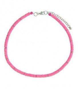 Fucshia roze korte halsketting van platte kralen