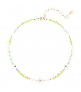 Groene halsketting met kralen, bijpassende armband verkrijgbaar