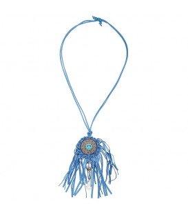 Blauwe halsketting met franje en peace teken