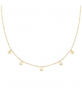 Goudkleurige korte halsketting met 5 kleine schelpbedels