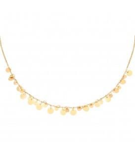 Goudkleurige halsketting met platte bedels