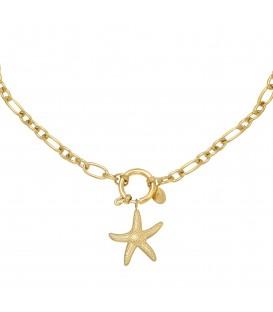 Goudkleurige halsketting met als bedel een zeester