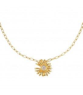 Goudkleurige halsketting met als hanger een bloem en strassteentjes