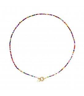 Gekleurde halsketting met kralen, er is ook bijpassende armband bij.