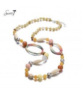 Oranje gekleurde lange halsketting van mooie kralen