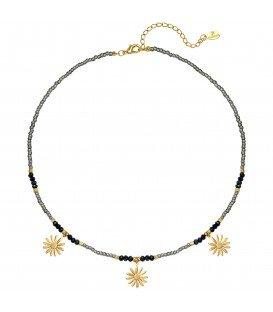 Grijze kralen halsketting met 3 bloemen hangers