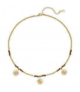 Goudkleurige halsketting van kralen en goudkleurige bloemen bedels