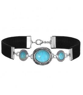 trendy strakke choker met mooie zilverkleur elementen en blauwe stenen inleg