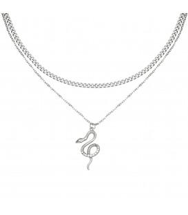 zilverkleurige halsketting met als hanger een slang