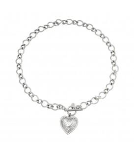 zilverkleurige ketting met ronde schakels en een hartvormige bedel