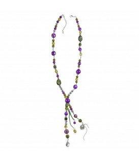 lange ketting met groene en paarse kralen
