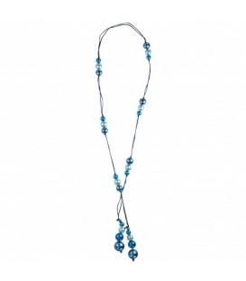 lange ketting van suede koord met blauwe parels