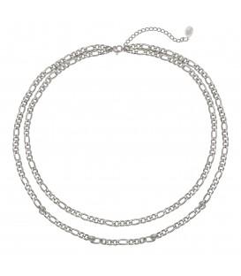 mooie zilverkleurige halsketting met twee lagen