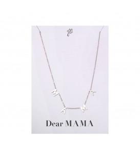leuke zilverkleurige halsketting met de letters mama