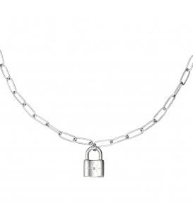 zilverkleurige schakel ketting met een slot
