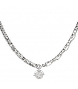 zilverkleurige schakel halsketting met een maan hanger