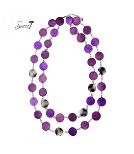 paarse lange halsketting met mooie elementen