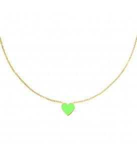 goudkleurige halsketting met een groene hart