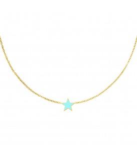 goudkleurige halsketting met een lichtblauwe ster