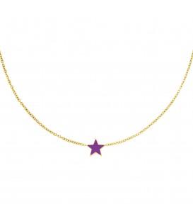 goudkleurige halsketting met een paarse ster
