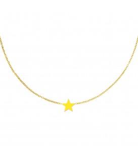 goudkleurige halsketting met een gele ster