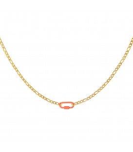 goudkleurige halsketting met een oranje slot