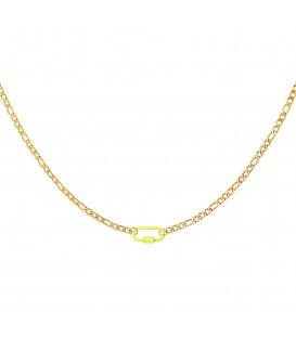 goudkleurige halsketting met een geel slot