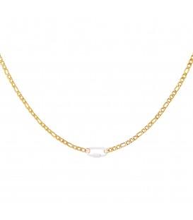 goudkleurige halsketting met een witte slot