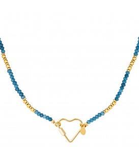 goudkleurige halsketting met blauwe steentjes en grote hartvormige sluiting