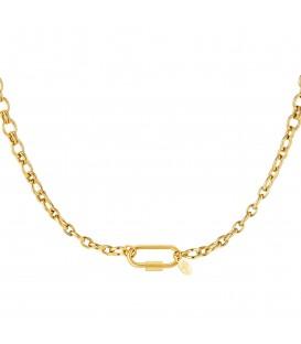 goudkleurige halsketting met rechthoekige sluiting