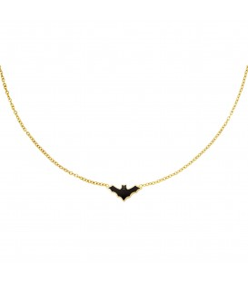 goudkleurige halsketting met een zwarte vleermuis