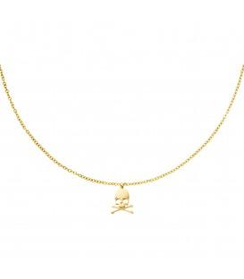 goudkleurige halsketting met een schedel