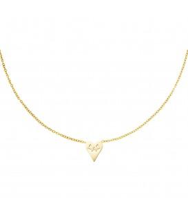 goudkleurige halsketting in de vorm van een hart met een pompoen gezicht
