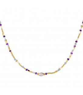 goudkleurige halsketting met paarse kralen en steen