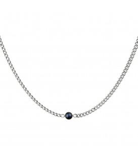 zilverkleurige halsketting met dikke ketting en zwarte steen