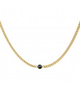 goudkleurige halsketting met dikke ketting en zwarte steen