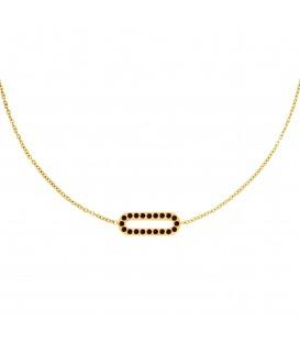 goudkleurige halsketting met rechthoekige hanger met rode zirkoonsteentjes