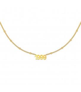goudkleurige halsketting met jaartal 1999